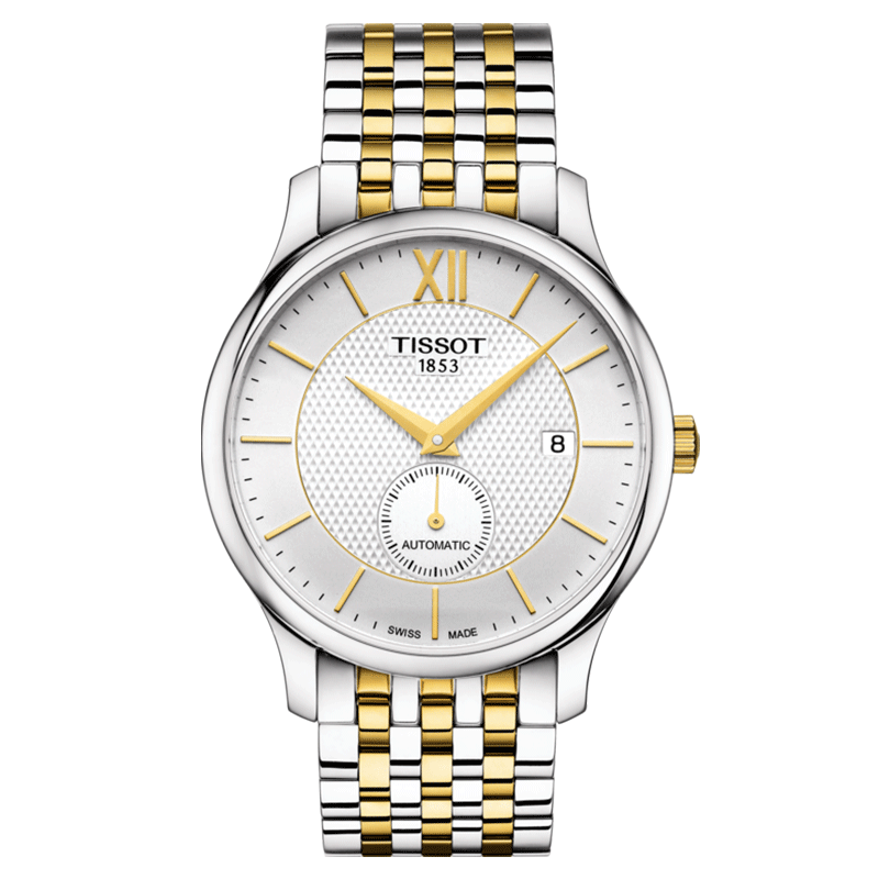 Montre T-Classic Tradition Automatic Small Second cadran argent bracelet acier bicolore 40 mm