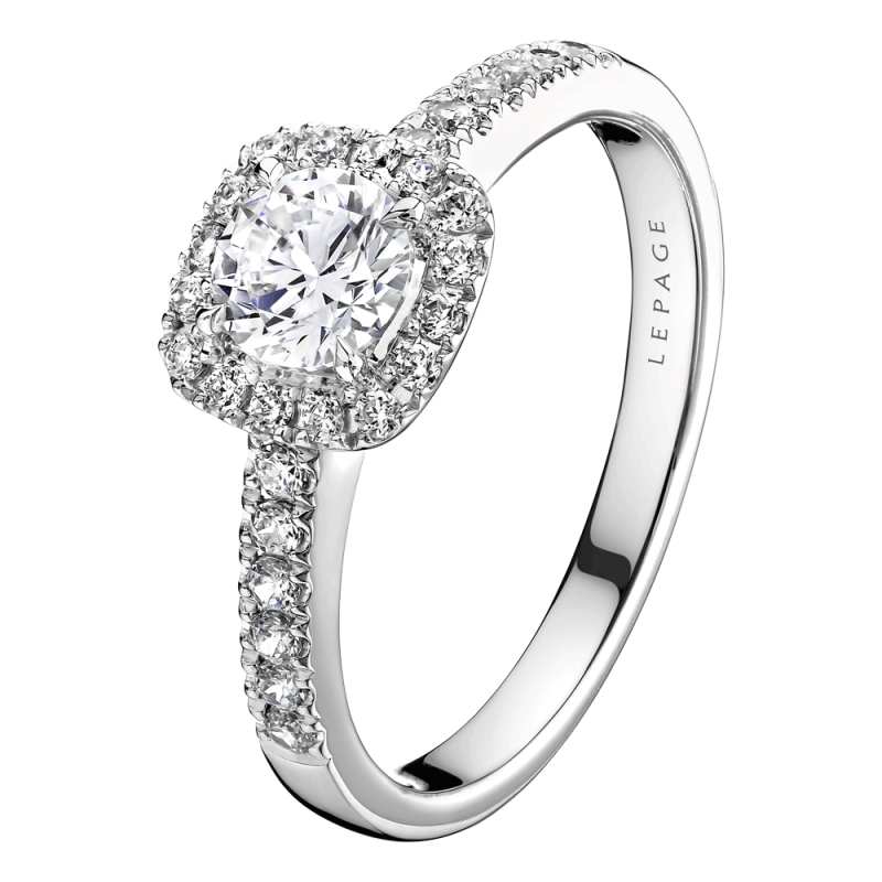 Solitaire Lepage Madame Rose en or blanc diamants