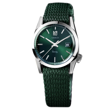 Montre March LA.B Seventy 3 Electric bracelet Perlon vert 36 mm