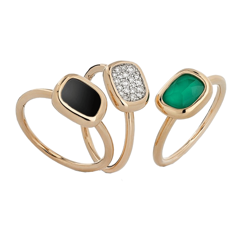 Bague Roberto Coin Black Jade trio en or rose jade agate et diamants