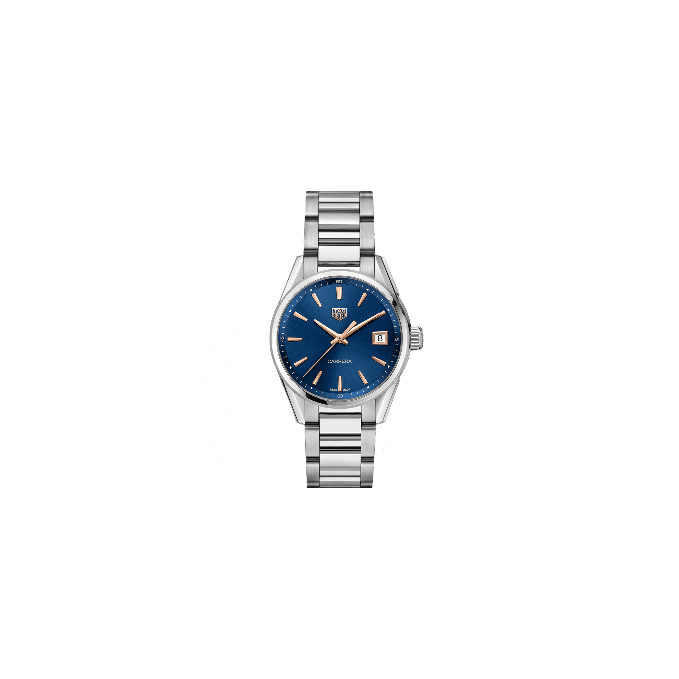 Montre TAG Heuer Carrera Lady quartz cadran bleu index or rose bracelet acier 36 mm