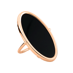 Bague Ginette NY Ellipse en or rose et onyx