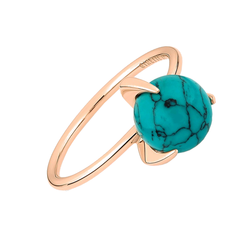 Bague Ginette NY Maria Single Bead en or rose et turquoise