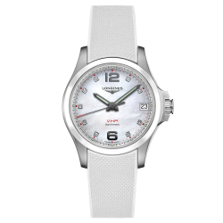 Montre Longines Conquest VHP quartz cadran nacre blanche index diamants bracelet caoutchouc blanc 36 mm