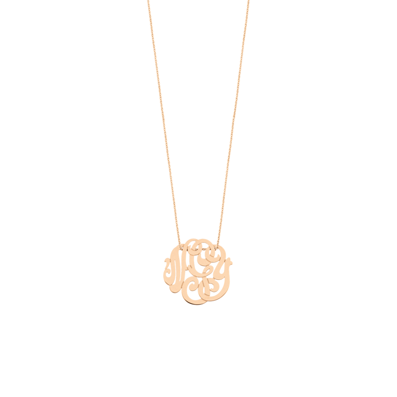 Collier Ginette NY White Baby Lace Monogram en or rose