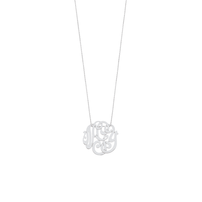 Collier Ginette NY White Baby Lace Monogram en or blanc
