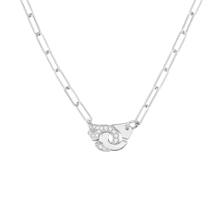 Collier Dinh Van Menottes R10 en or blanc et diamants - SOLDAT