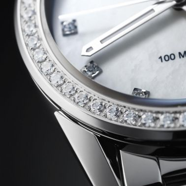 Montre TAG Heuer Carrera Lady quartz cadran nacre blanche index diamants lunette sertie 36 mm - SITE3