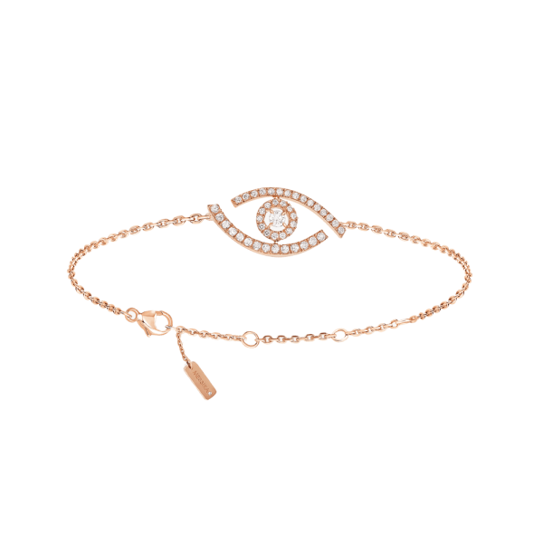 Bracelet Messika Lucky Eye Paved in pink gold and diamonds