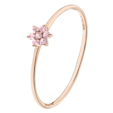 Bague Lepage x Ginette NY Star Mini en or rose et saphir rose
