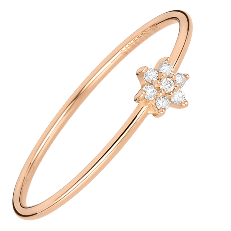 Bague Ginette NY Star Mini en or rose et diamants