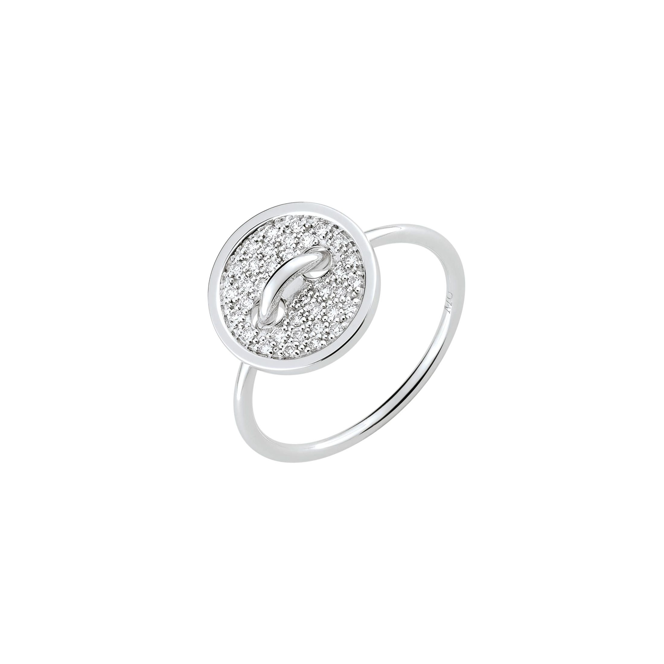 Bague Boutons de Louise or blanc et pavage diamants