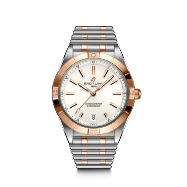 Breitling Chronomat Lady Automatic watch in pink gold and steel white dial 36 mm