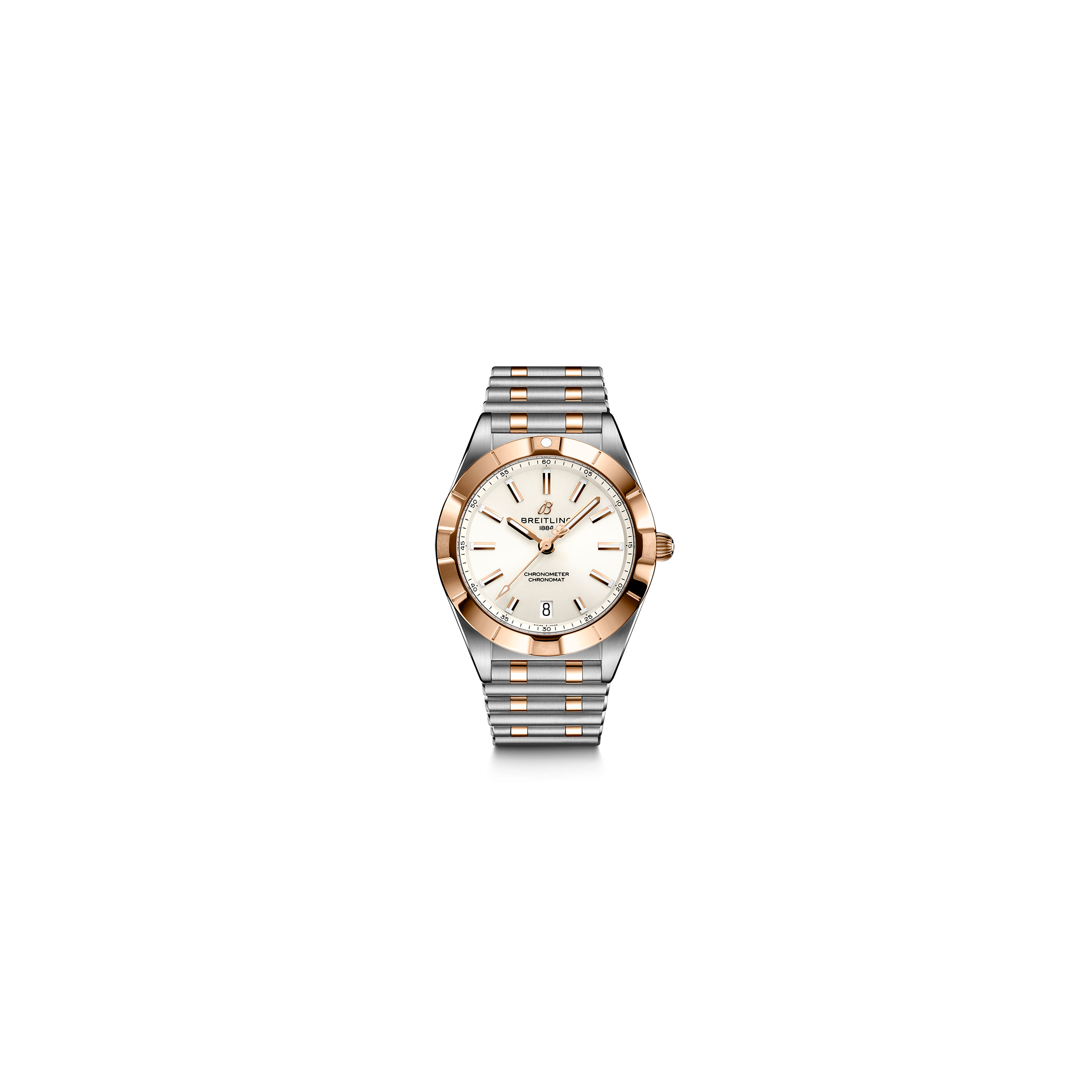Breitling Chronomat Lady Superquartz watch in pink gold and steel white dial diamond indexes 32 mm