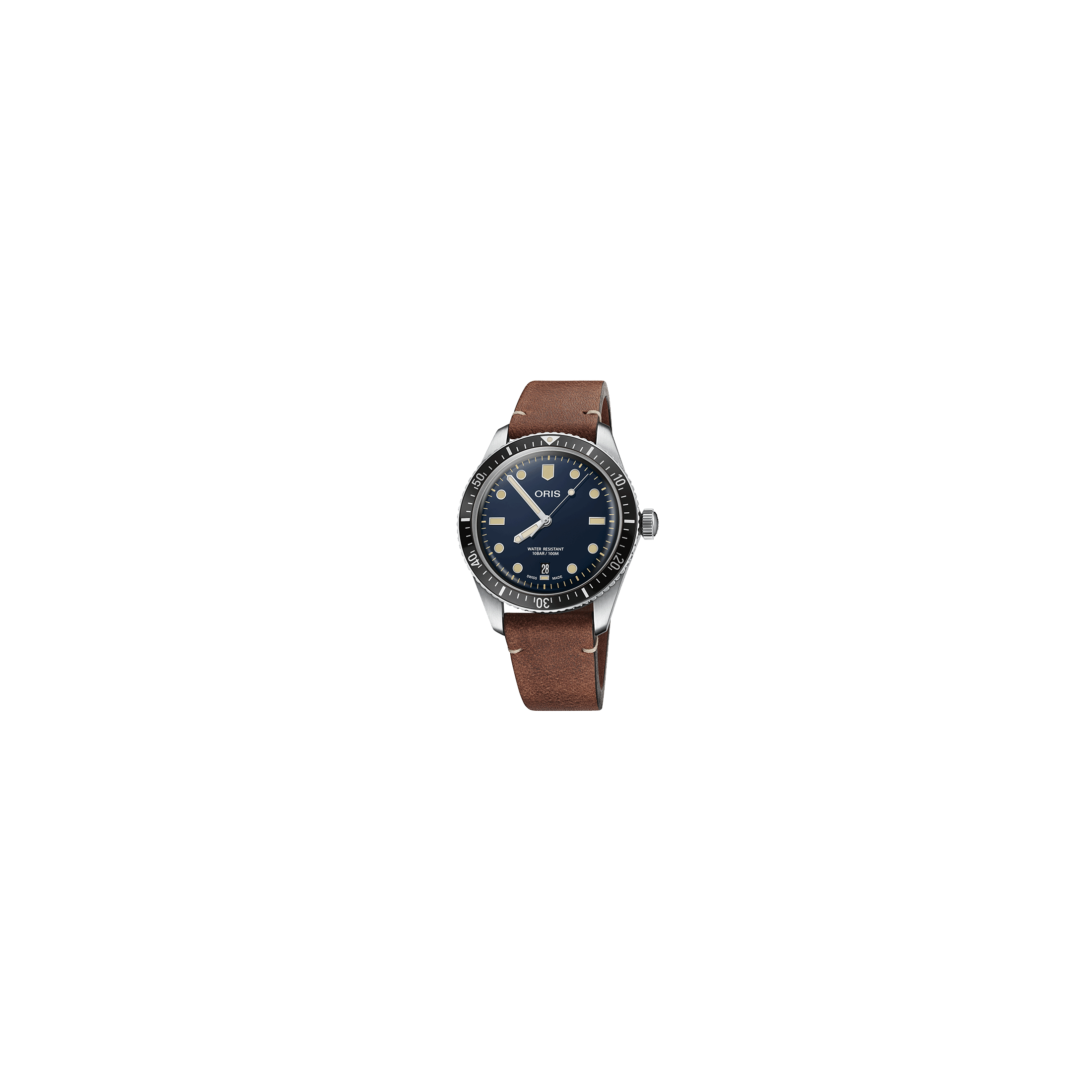 Montre Oris Plongée Divers Sixty-Five automatique cadran bleu bracelet cuir marron 40 mm