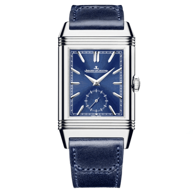 Jaeger LeCoultre Reverso Tribute Duoface automatic watch blue dial blue leather strap