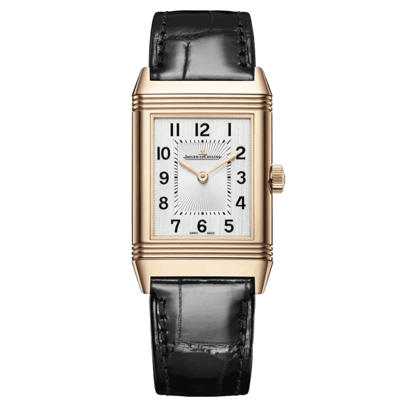 Jaeger LeCoultre Reverso Classic Medium Thin pink gold automatic watch silver dial black leather strap
