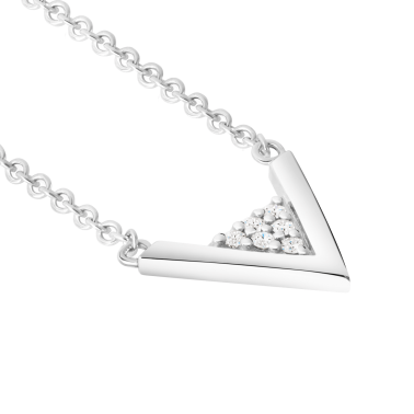 Necklace Les Poinconneurs Jade white gold and diamonds with triangle pattern