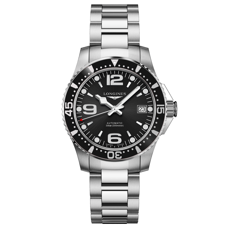 Longines HydroConquest automatic watch black dial 39 mm stainless steel bracelet L3.741.4.56.6