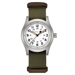 Hamilton Khaki Field mechanical watch with manual winding white dial green textile strap 42 mm H69529913