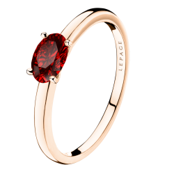 Solitaire Lepage Emotion en or rose et rubis taille ovale