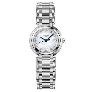 Montre Longines Primaluna quartz cadran nacre index diamants bracelet acier 26,5 mm - SOLDAT PL