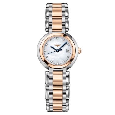Montre Longines Primaluna quartz cadran nacre index diamants bracelet acier et or rose 26,5 mm - SOLDAT