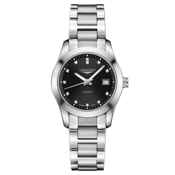 Montre Longines Conquest Classic automatique cadran noir index diamants 29,5 mm - SOLDAT PL
