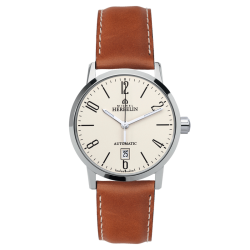 Montre Michel Herbelin City automatique cadran beige bracelet cuir brun 40 mm - SOLDAT