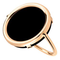 Bague Ginette NY Disc en or rose et onyx