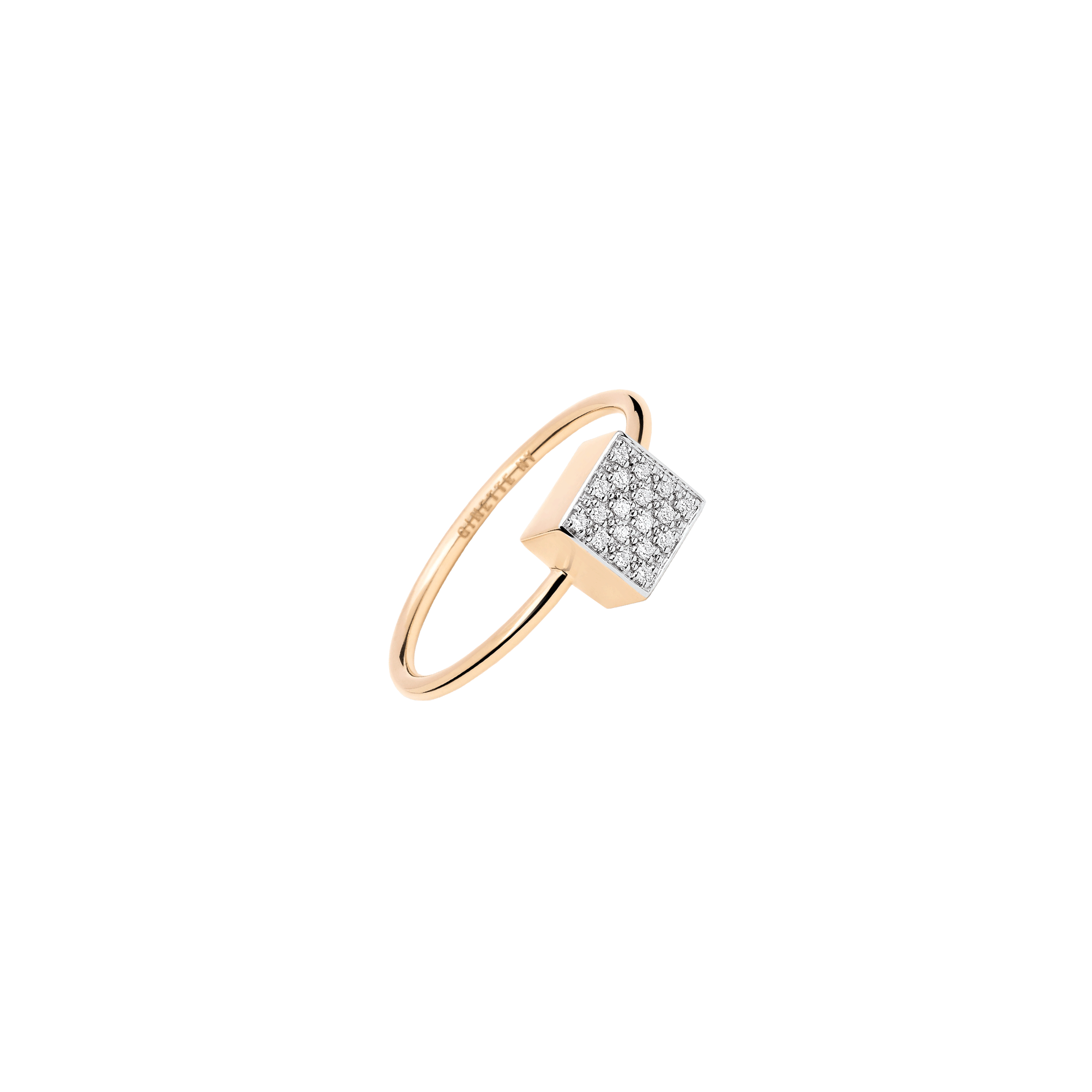 Bague Ginette NY Baby Ever Square en or rose et diamants