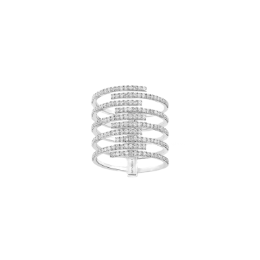 Bague Messika Gatsby 10 rangs en or blanc et diamants - Top