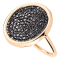 Bague Ginette NY Disc en or rose et diamants noirs - Soldat