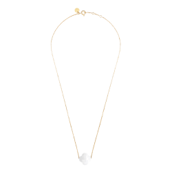 Collier Morganne Bello Friandise agate blanche taille trèfle et or jaune
