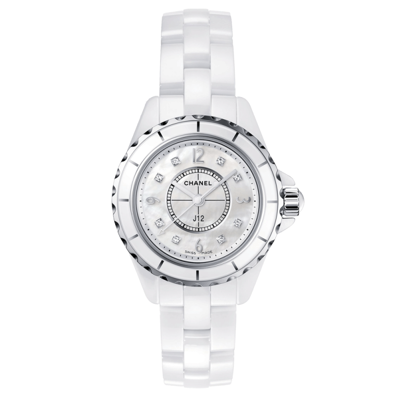 Montre Chanel J12 cadran nacre index diamants bracelet céramique blanche 29 mm