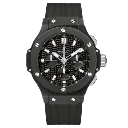 Montre Hublot Big Bang Black Magic cadran fibre de carbone bracelet caoutchouc 44 mm